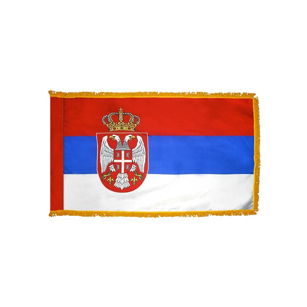 Serbia Flag with Polesleeve & Fringe