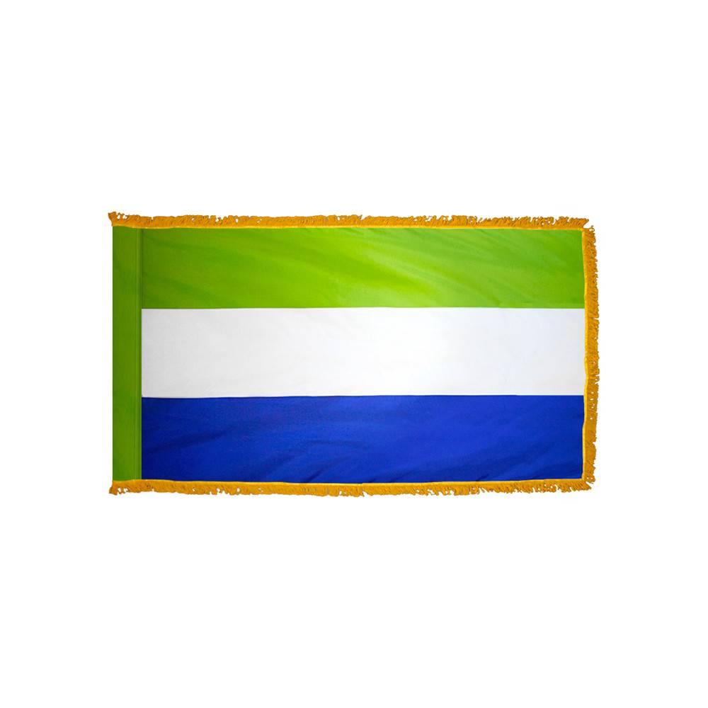 Sierra Leone Flag with Polesleeve & Fringe