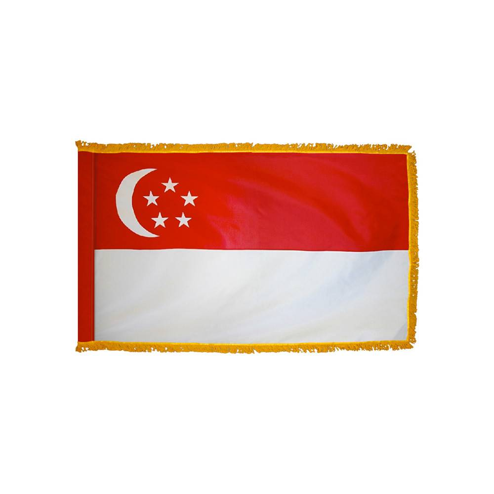 Singapore Flag with Polesleeve & Fringe