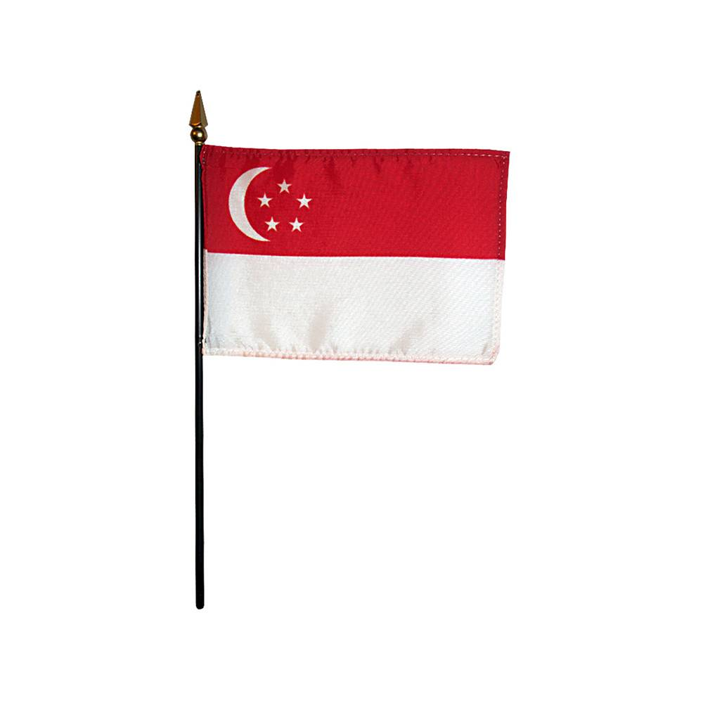 Singapore Stick Flag 4x6 in