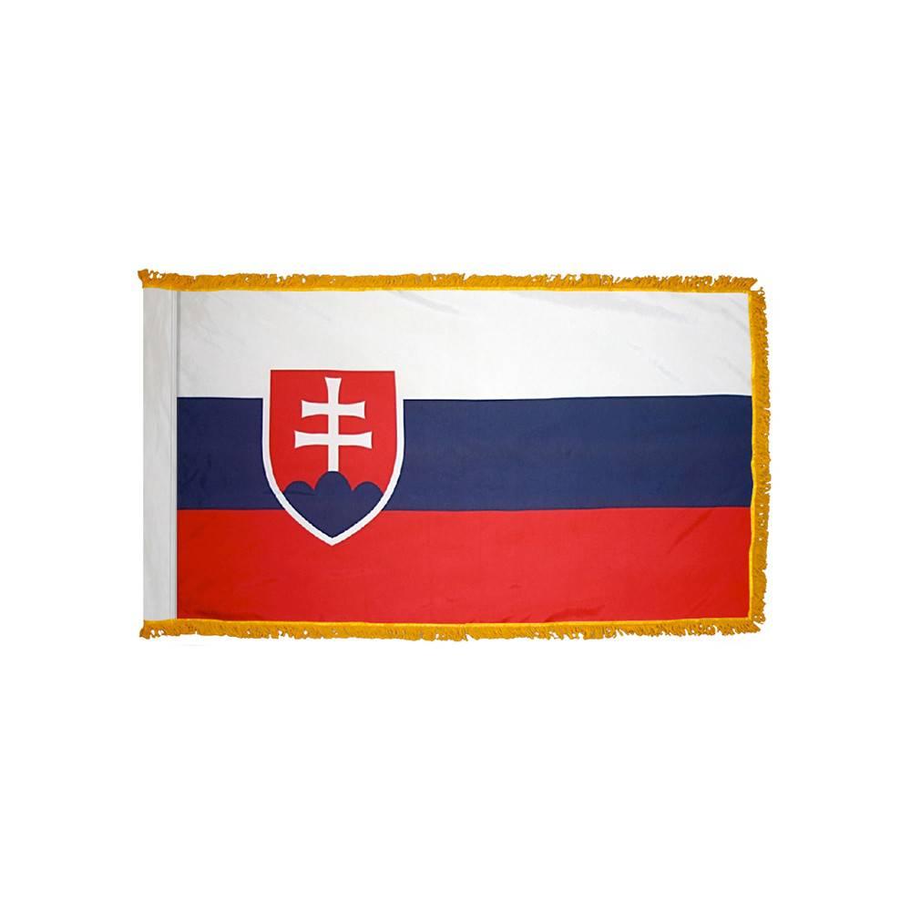 Slovakia Flag with Polesleeve & Fringe
