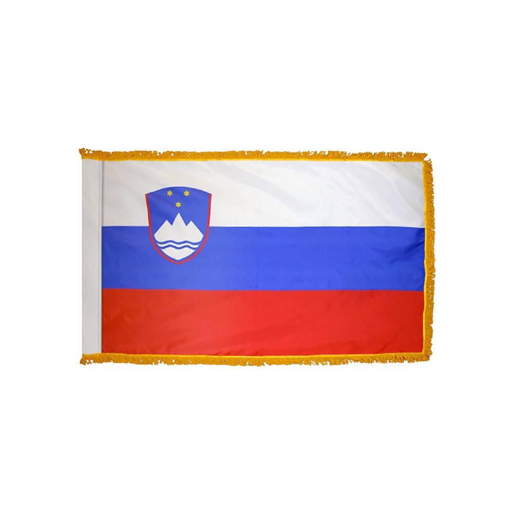 Slovenia Flag with Polesleeve & Fringe