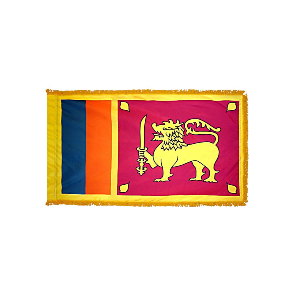 Sri Lanka Flag with Polesleeve & Fringe