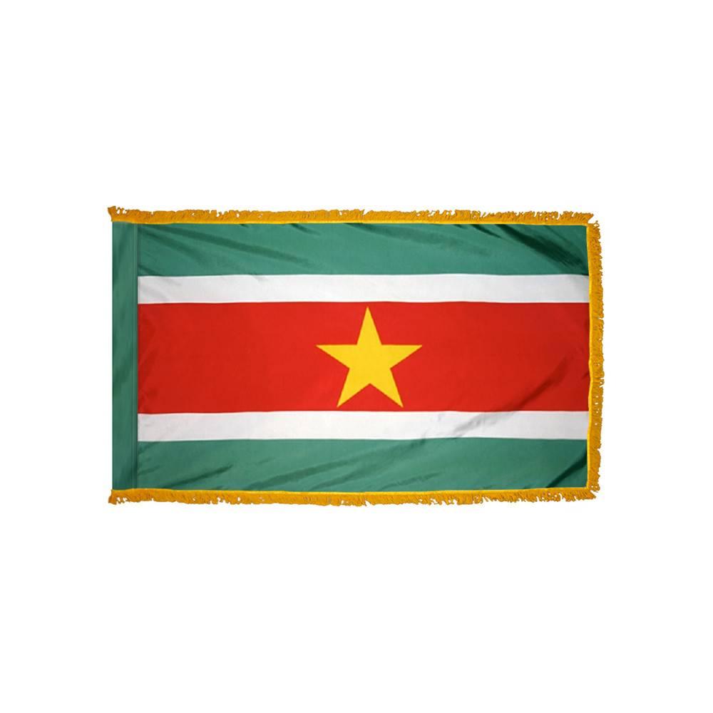Suriname Flag with Polesleeve & Fringe