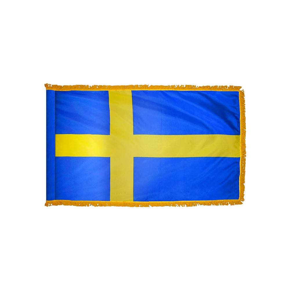 Sweden Flag with Polesleeve & Fringe