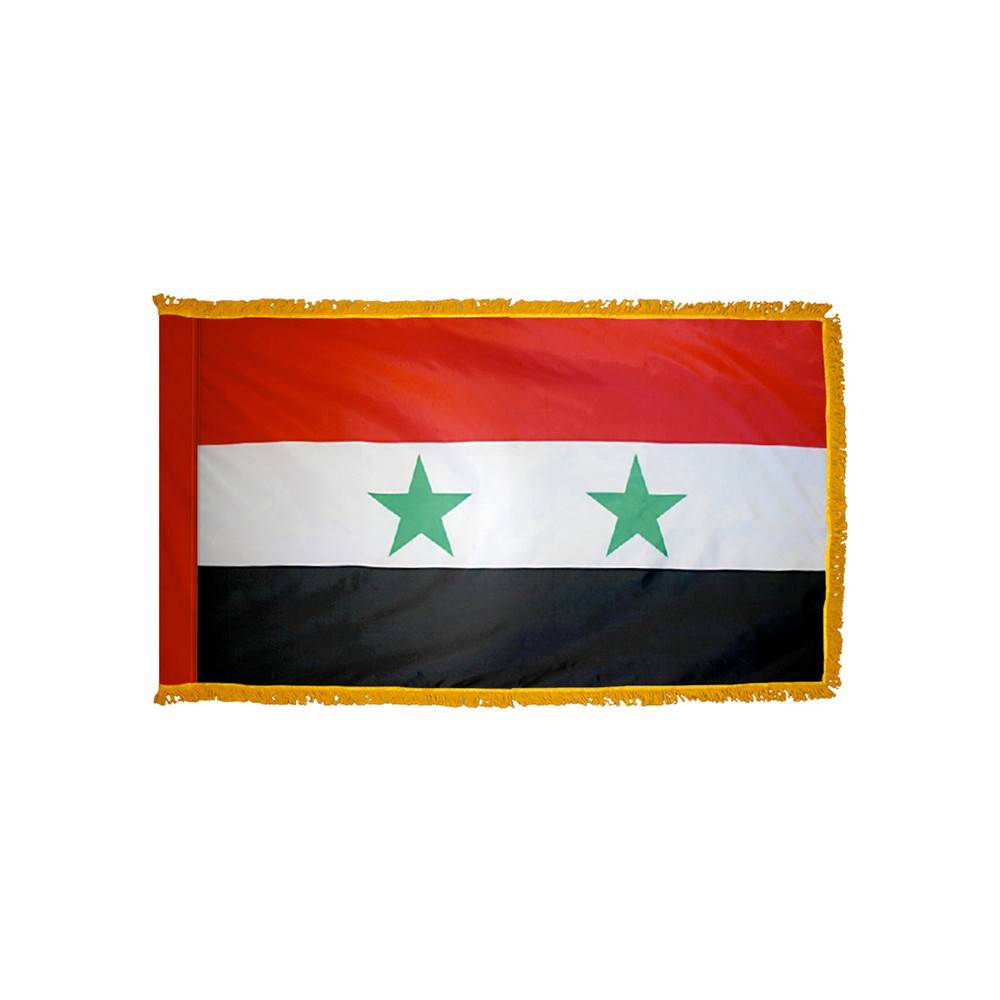 Syria Flag with Polesleeve & Fringe