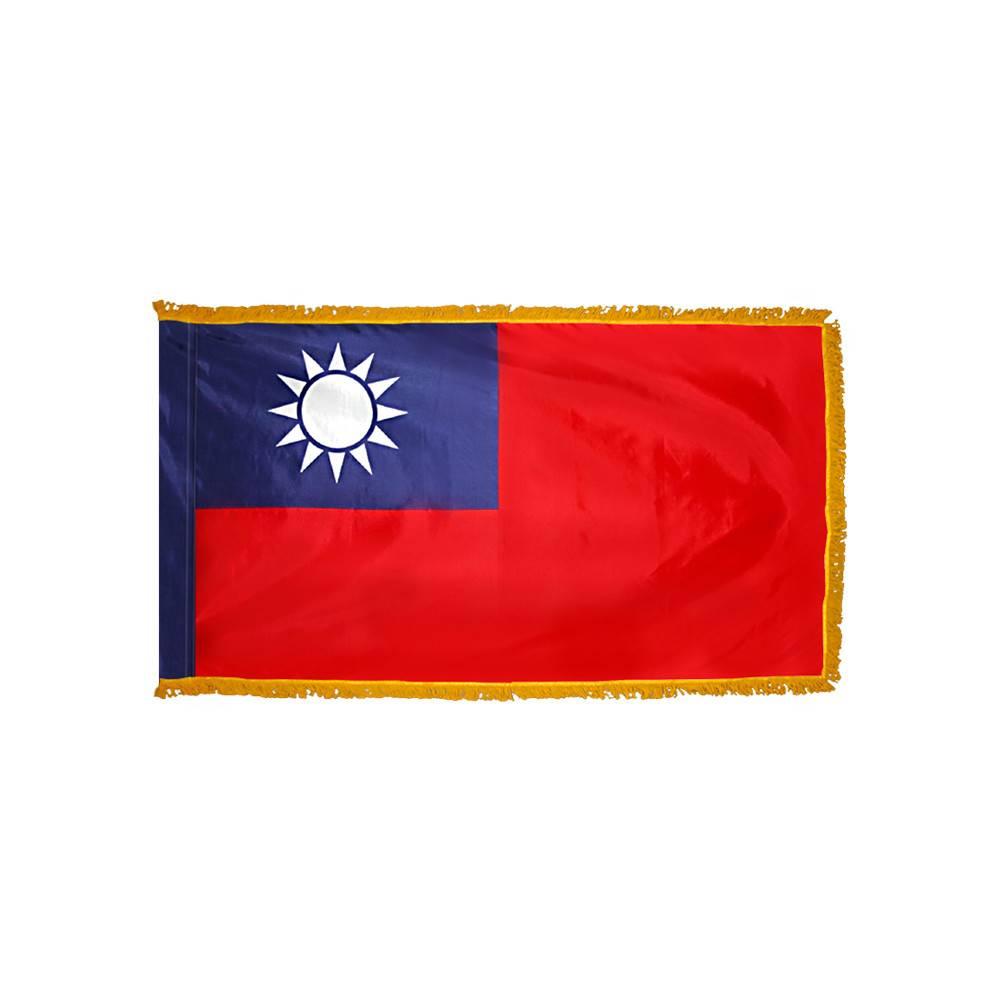 Taiwan Flag with Polesleeve & Fringe