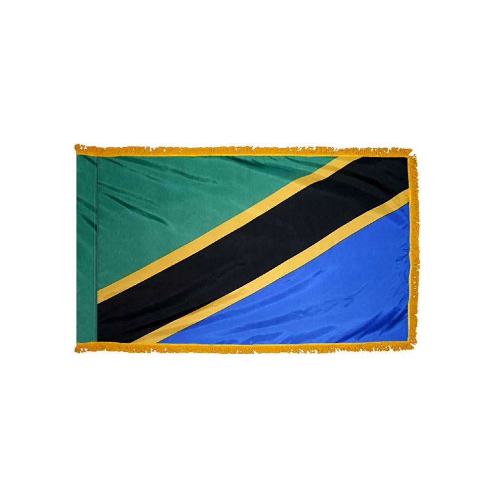 Tanzania Flag with Polesleeve & Fringe