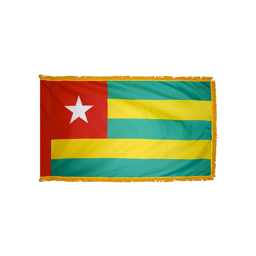 Togo Flag with Polesleeve & Fringe
