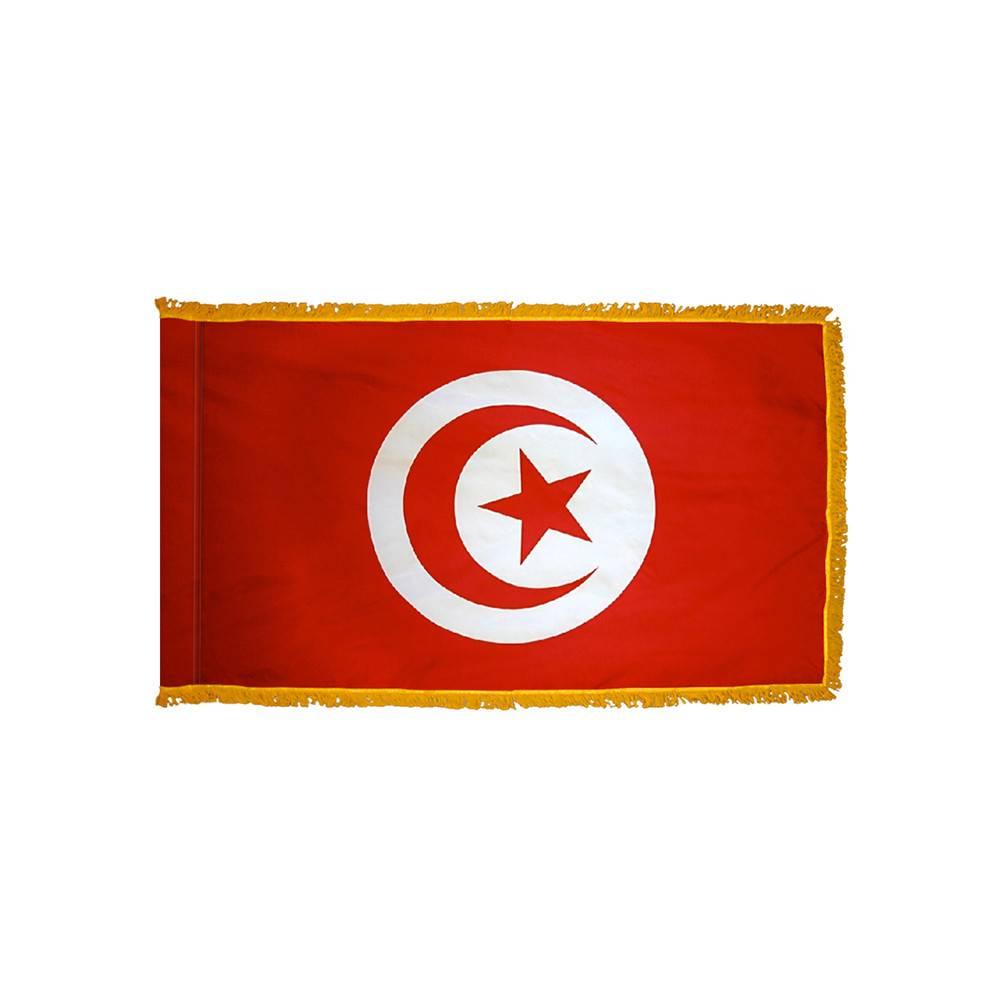 Tunisia Flag with Polesleeve & Fringe