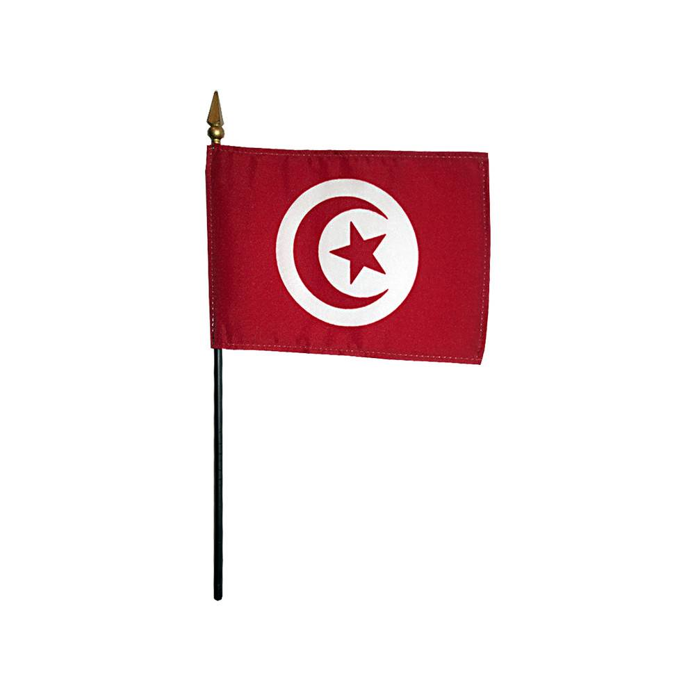Tunisia Stick Flag 4x6 in