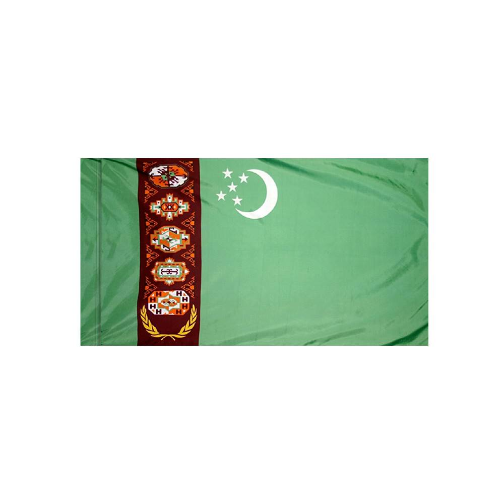 Turkmenistan Flag with Polesleeve