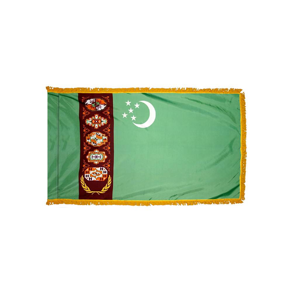 Turkmenistan Flag with Polesleeve & Fringe