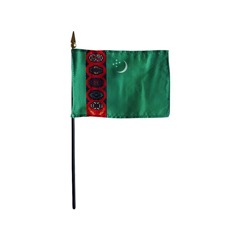 Turkmenistan Stick Flag 4x6 in