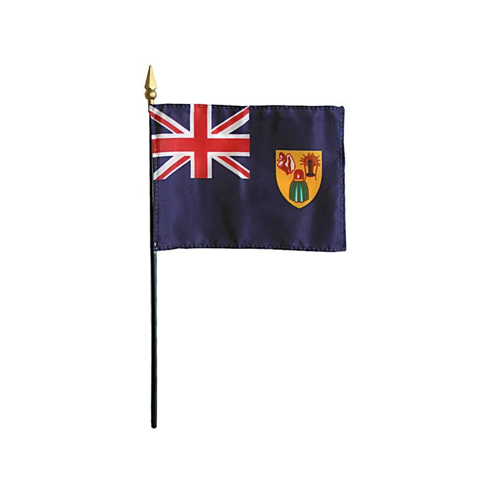 Turks & Caicos Stick Flag 4x6 in