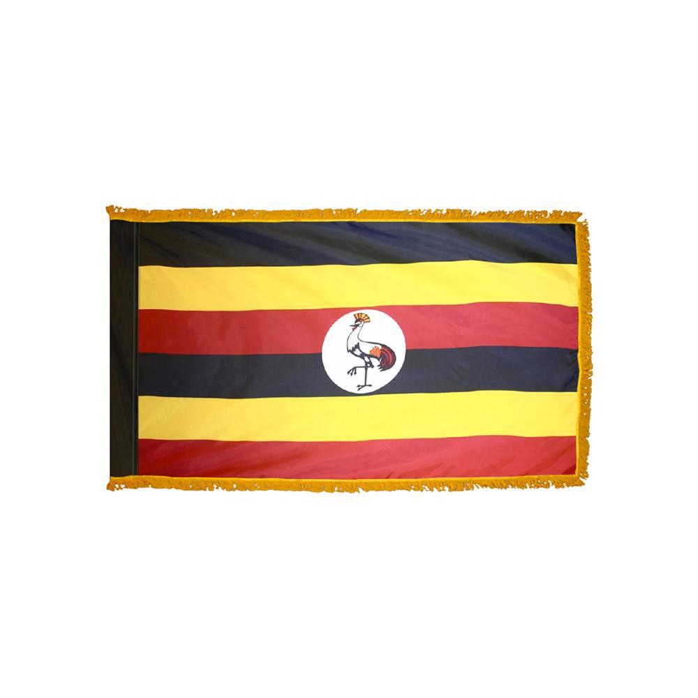 Uganda Flag with Polesleeve & Fringe
