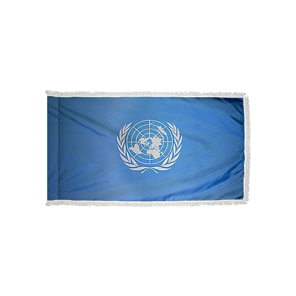 United Nations Flag with Polesleeve & Fringe