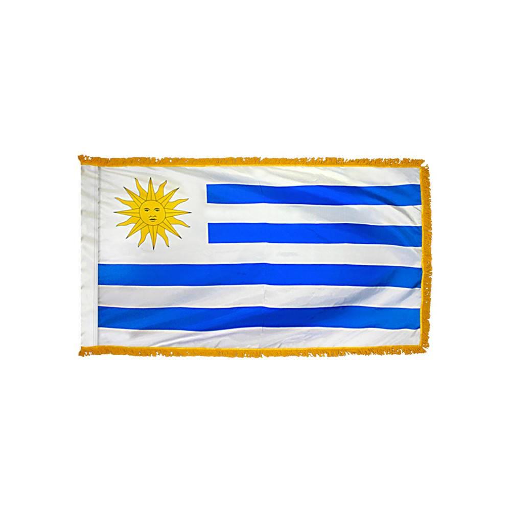 Uruguay Flag with Polesleeve & Fringe