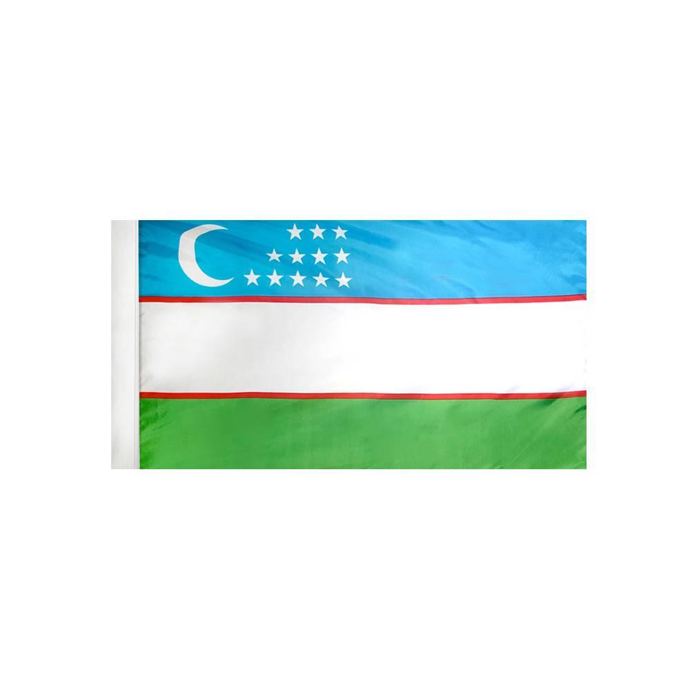 Uzbekistan Flag with Polesleeve