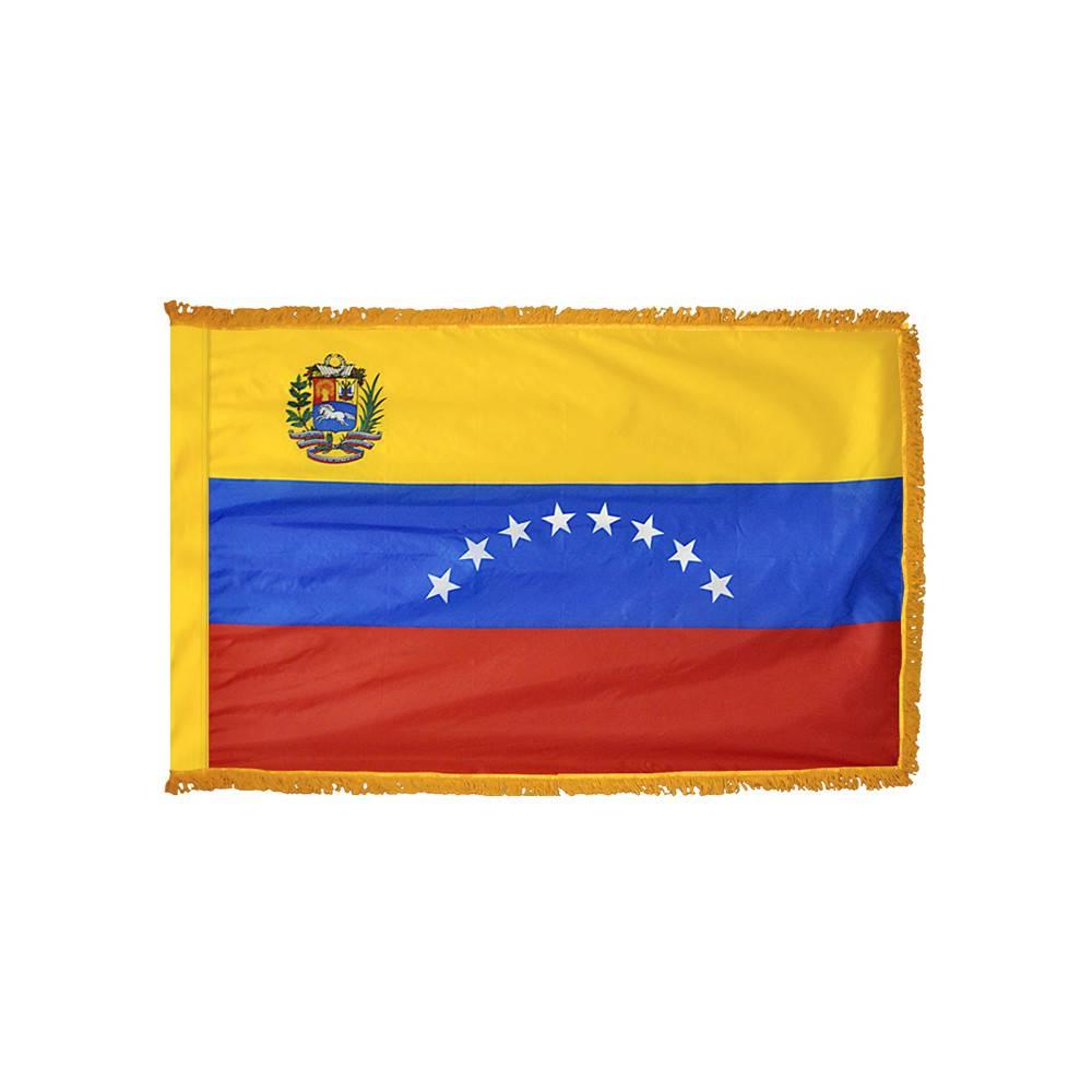 Venezuela Flag with Polesleeve & Fringe
