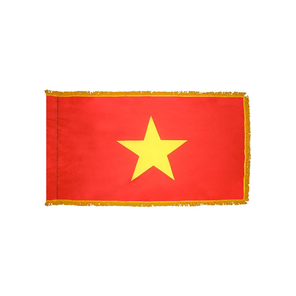 Vietnam Flag with Polesleeve & Fringe
