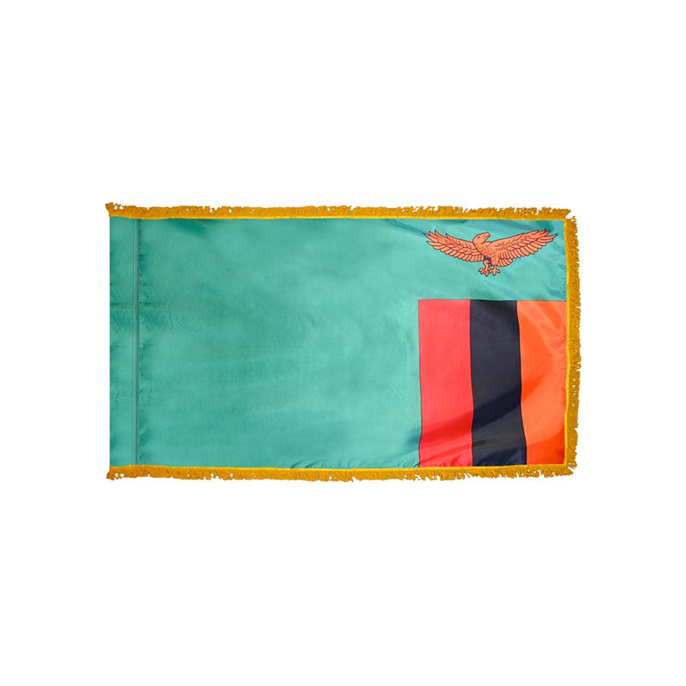 Zambia Flag with Polesleeve & Fringe