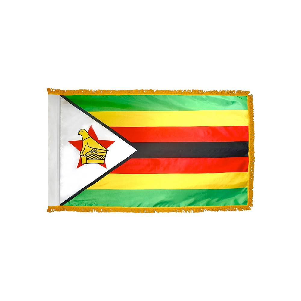 Zimbabwe Flag with Polesleeve & Fringe