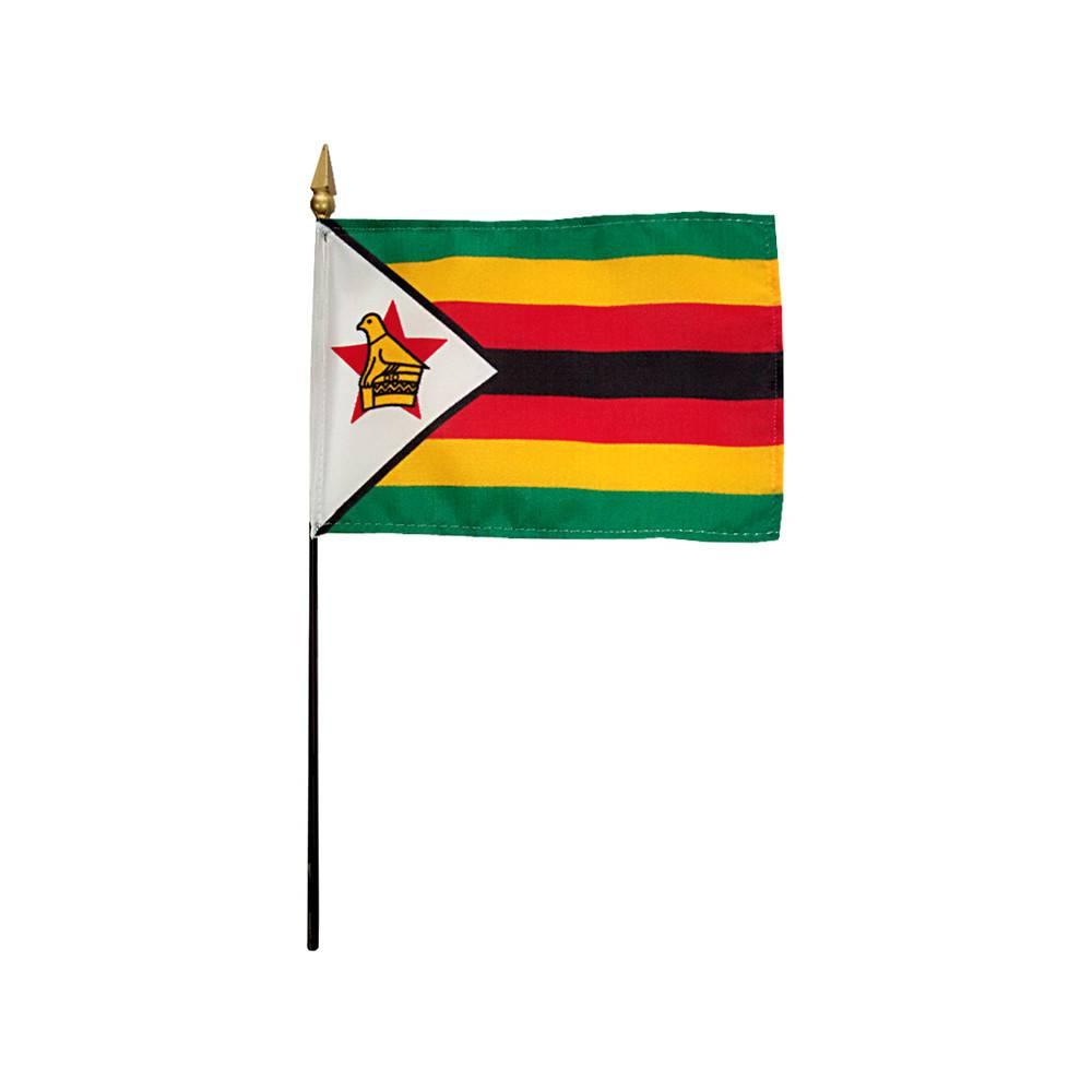 Zimbabwe Stick Flag 4x6 in