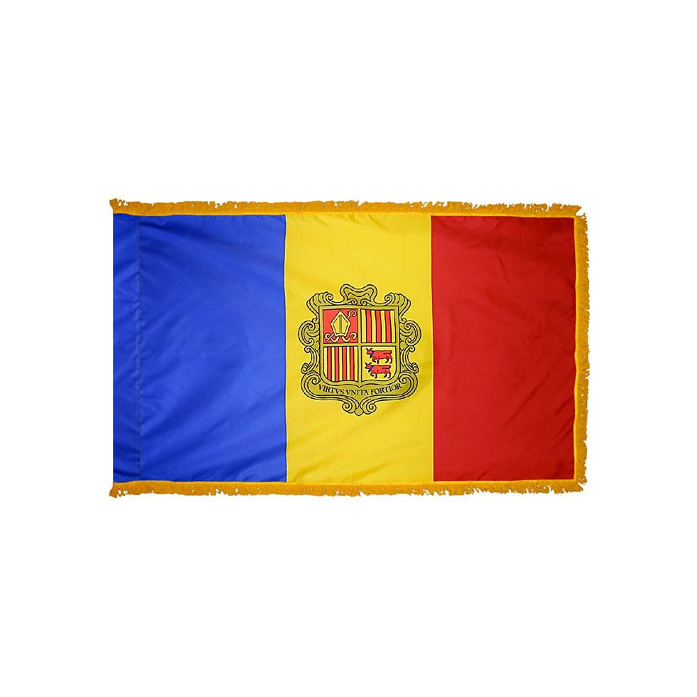Andorra Flag with Polesleeve & Fringe