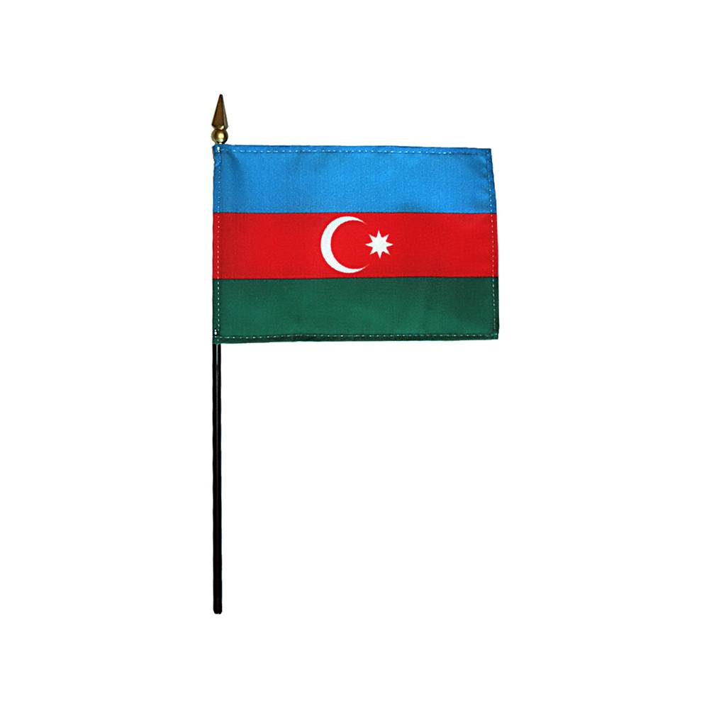 Azerbaijan Stick Flag 4x6 in