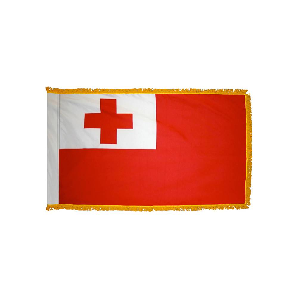 Tonga Flag with Polesleeve & Fringe