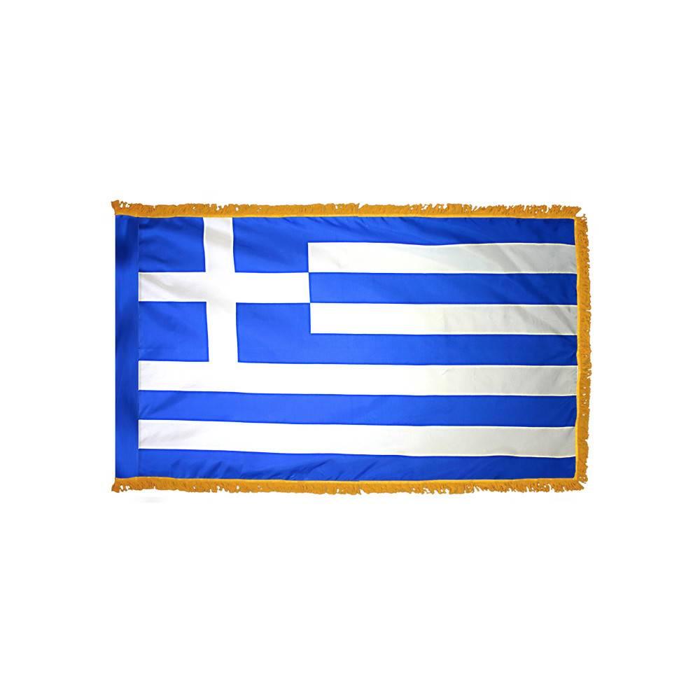 Greece Flag with Polesleeve & Fringe