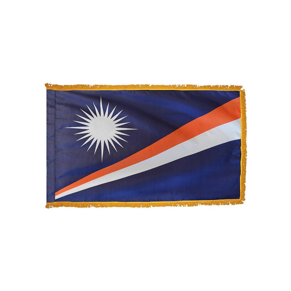 Marshall Islands Flag with Polesleeve & Fringe