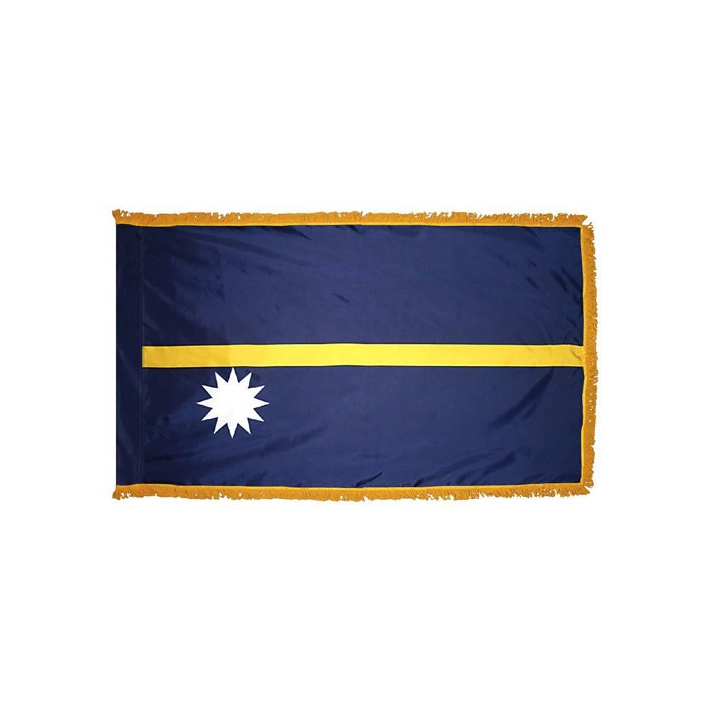 Nauru Flag with Polesleeve & Fringe