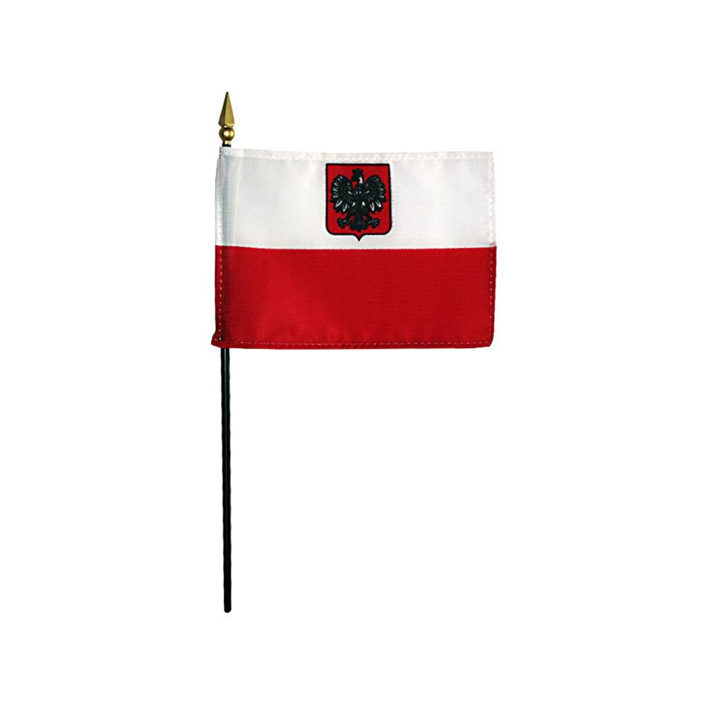 Poland Flag with Eagle Stick Flag