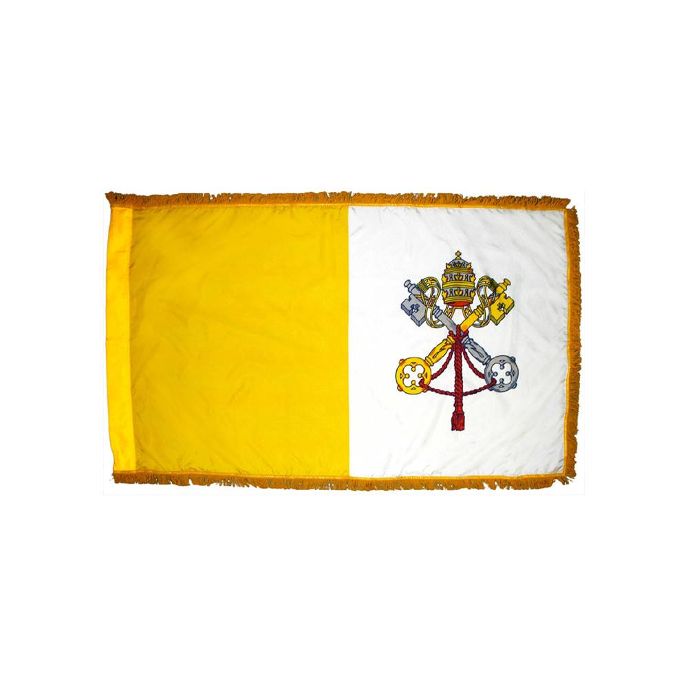 Vatican City Flag with Polesleeve & Fringe