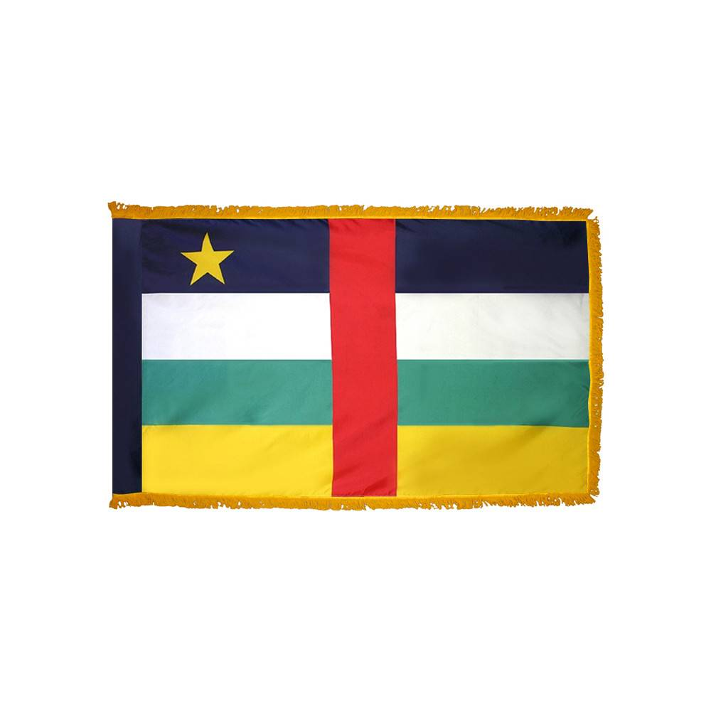 Central African Republic Flag with Polesleeve & Fringe