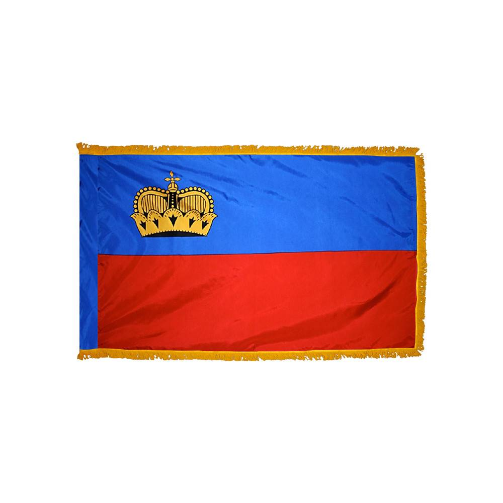 Liechtenstein Flag with Polesleeve & Fringe