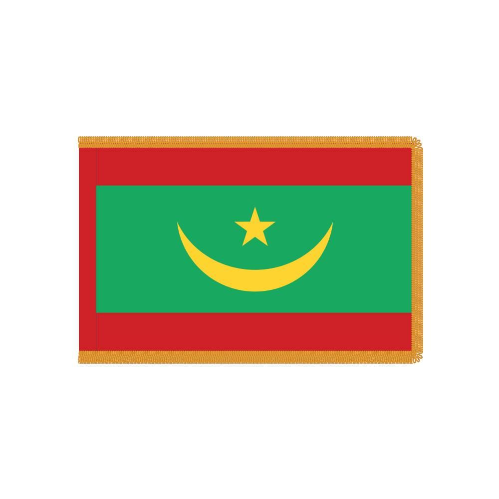 Mauritania Flag with Polesleeve & Fringe
