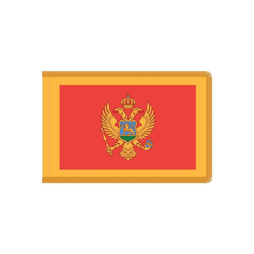Montenegro Flag with Polesleeve & Fringe