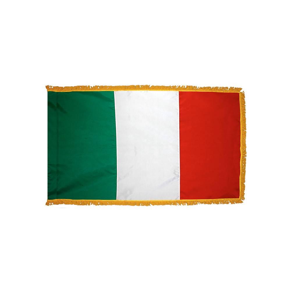 Italy Flag with Polesleeve & Fringe