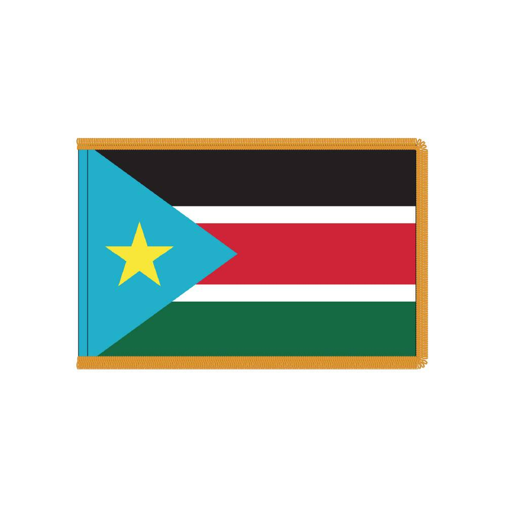 South Sudan Flag with Polesleeve & Fringe