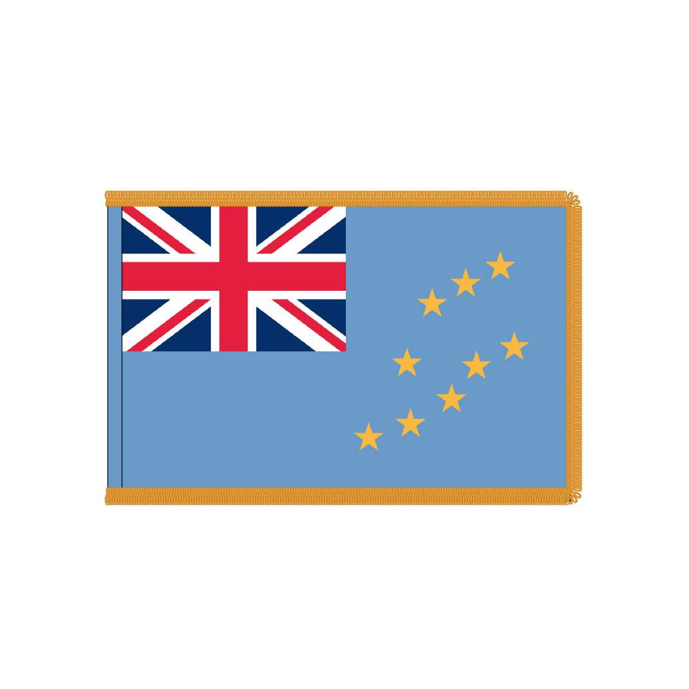 Tuvalu Flag with Polesleeve & Fringe