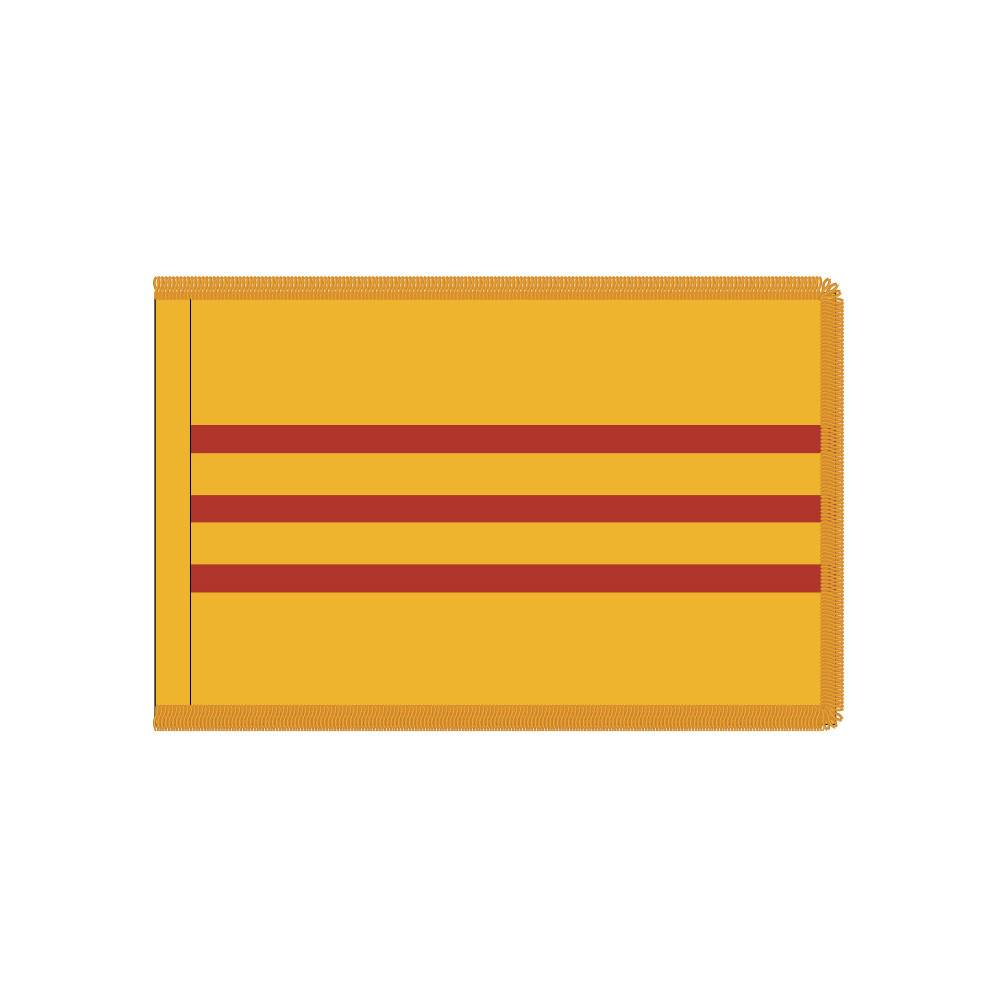 South Vietnam Flag with Polesleeve & Fringe