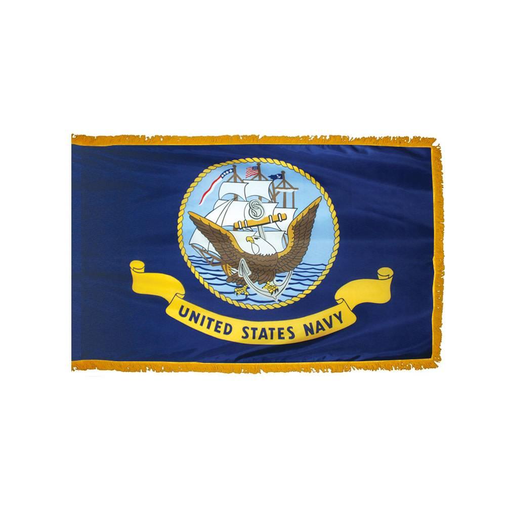 Navy Flag with Polesleeve & Fringe