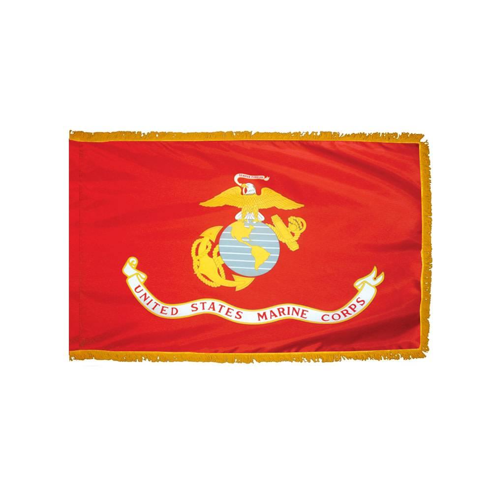 Marine Corps Flag with Polesleeve & Fringe