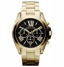 Michael Kors Chronograph Bradshaw Gold-Tone Black-Face Stainless Steel Bracelet 43mm