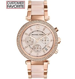 Michael Kors Chronograph Parker Blush and Rose Gold-Tone Stainless Steel Bracelet 39mm