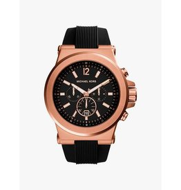 Michael Kors Dylan Rose Gold Tone Black Silicone Strap 45mm