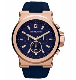 Michael Kors Chronograph Dylan Navy Silicone Strap Watch 48mm